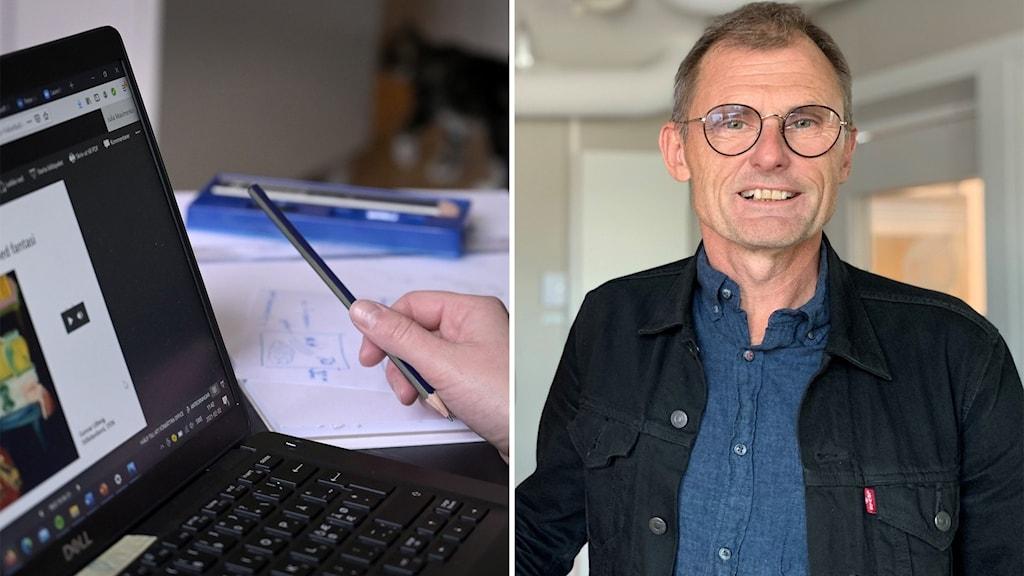 Till vänster: En datorskärm. Till höger: En man i en radiostudio.