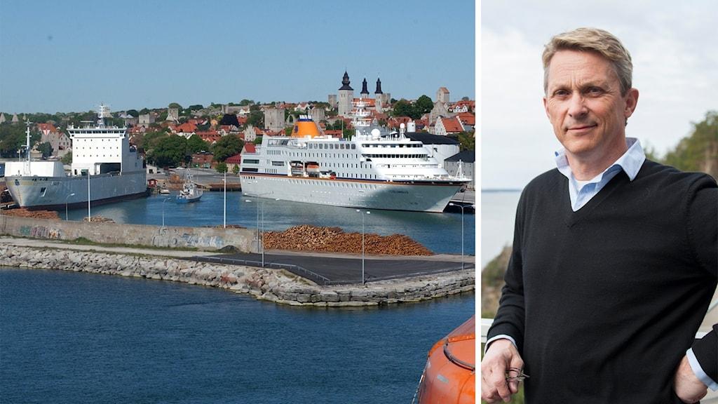 Tvådelad bild: Till vänster fartyg i Visby hamn; till höger Trafikverkets presschef Bengt Olsson.