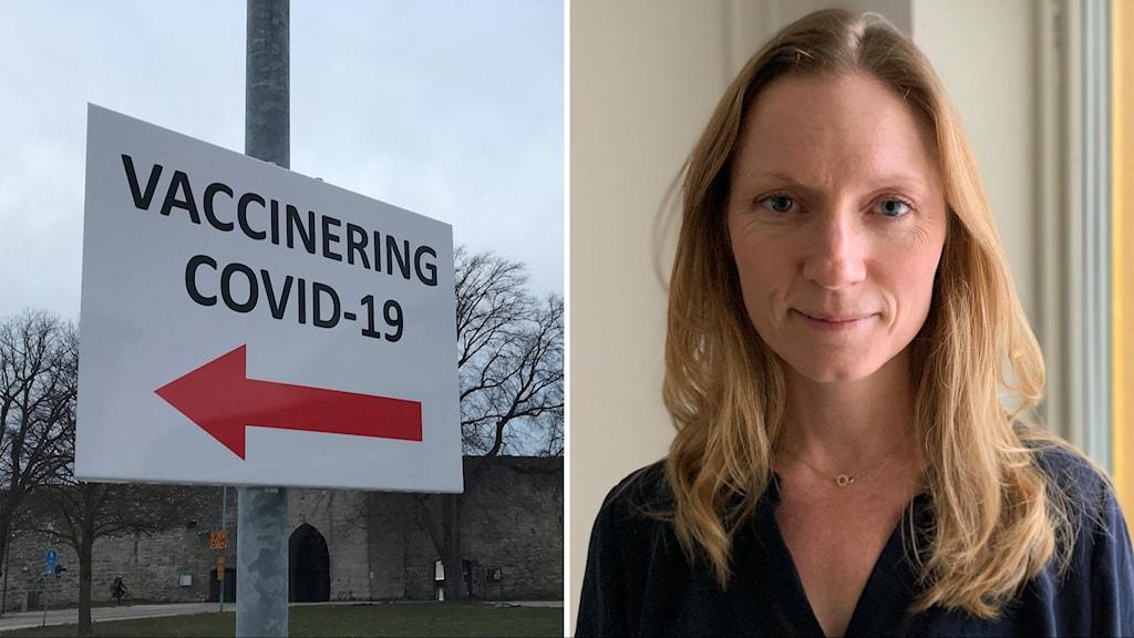 """Bilden är tvådelad och visar en skylt med texten """"vaccinering covid-19"""" och en långhårig kvinna."""