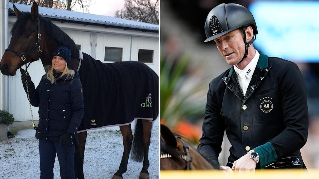 Till vänster: Hästen DiMarabou tillsammans med sin ägare Marlene Malmqvist. Till höger: Landslagsryttare Peder Fredricson.