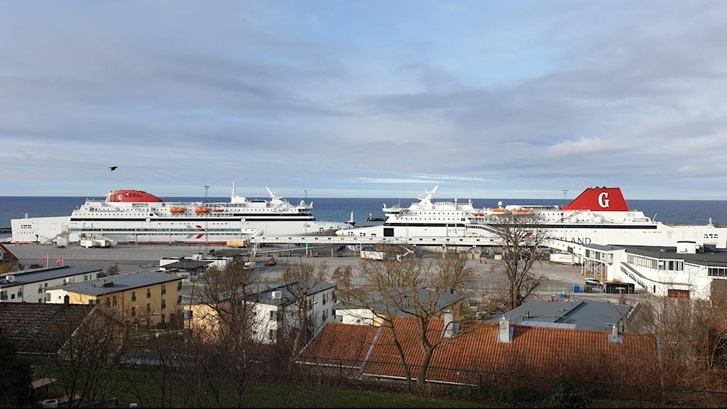 Gotlandsfärjor i Visby hamn
