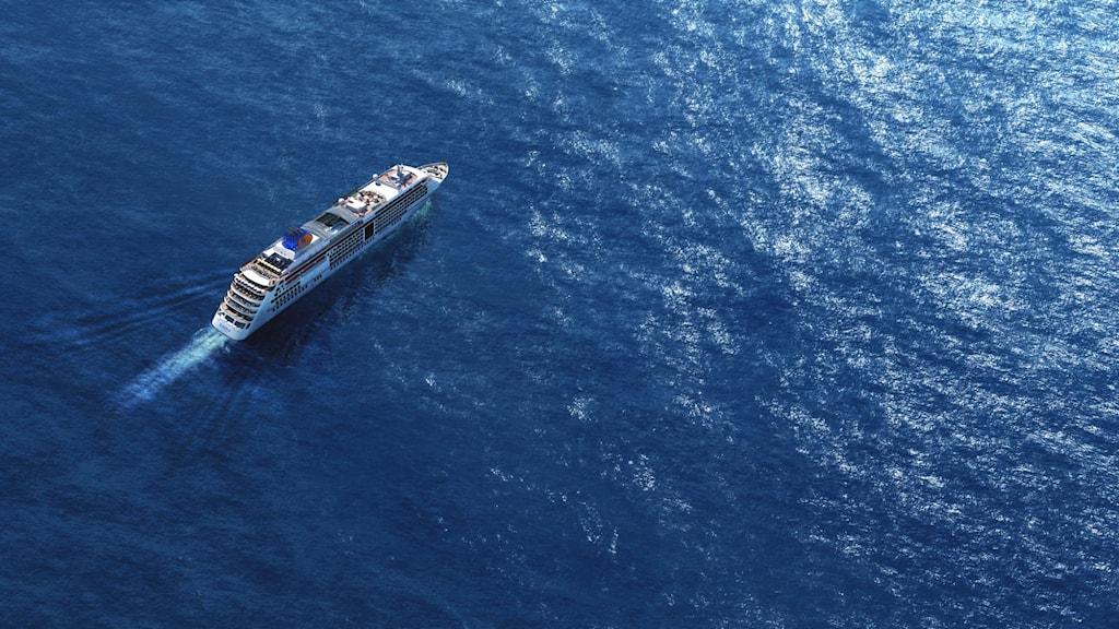 Kryssningsfartyg på öppet hav.