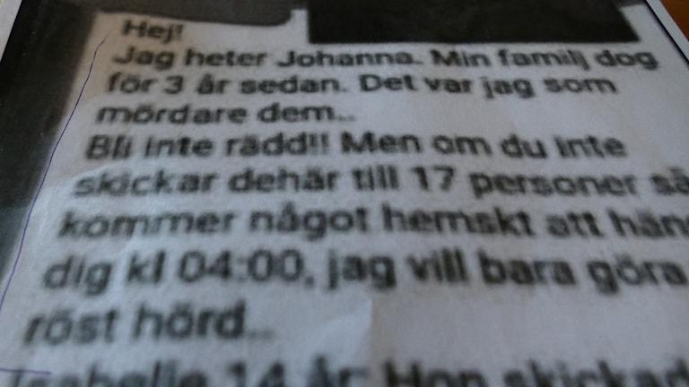 Kedjebrevet som skrämmer barnen på Västerhejde skolan.
