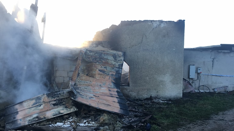 Brand i ladugård