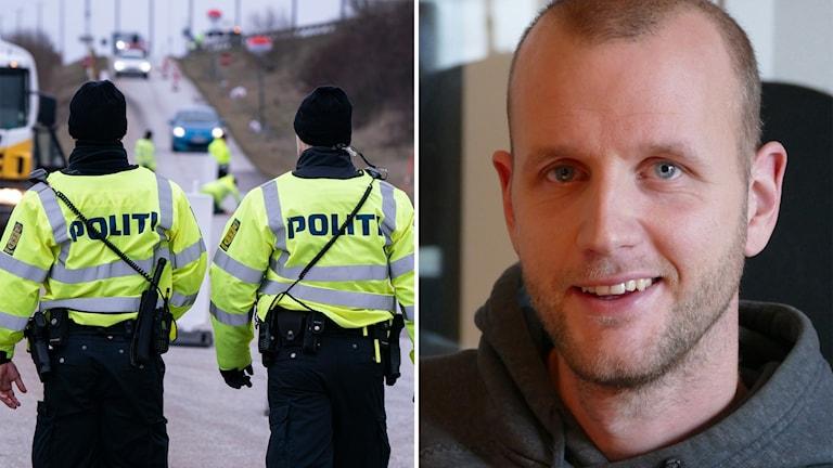 Gränskontroll i Danmark och Mats Åkerblom.
