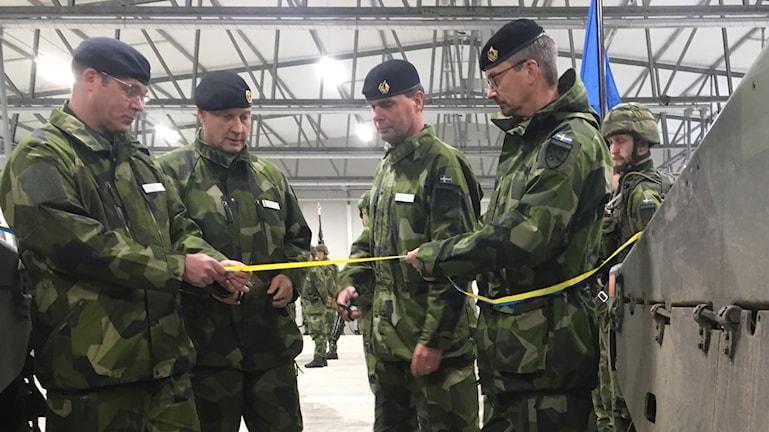 Mattias Ardin, försvarsmakten Gotland,  Karl Engelbrektson arméchef, Stefan Pettersson,  chef 18 stridsgruppen Bengt Alexandersson chef P4 Skaraborgs regemente.