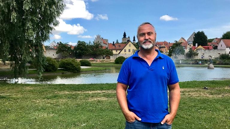Thomas Kocijan, från Kroatien men som bor på Gotland håller på Kroatien i fotbolls-vm