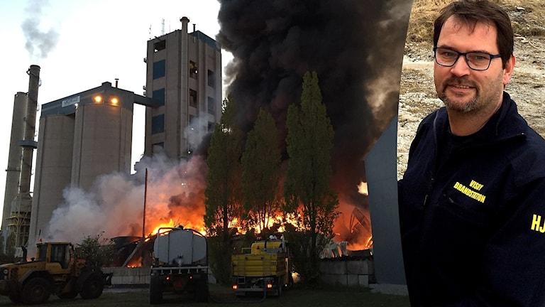 Henrik Johansson var räddningsledare vid branden i Cementas plastlager i Slite i maj 2017.