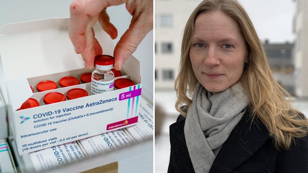Till vänster: Astra Zenecas covidvaccin. Till höger: Christine Senter, vaccinationssamordnare.