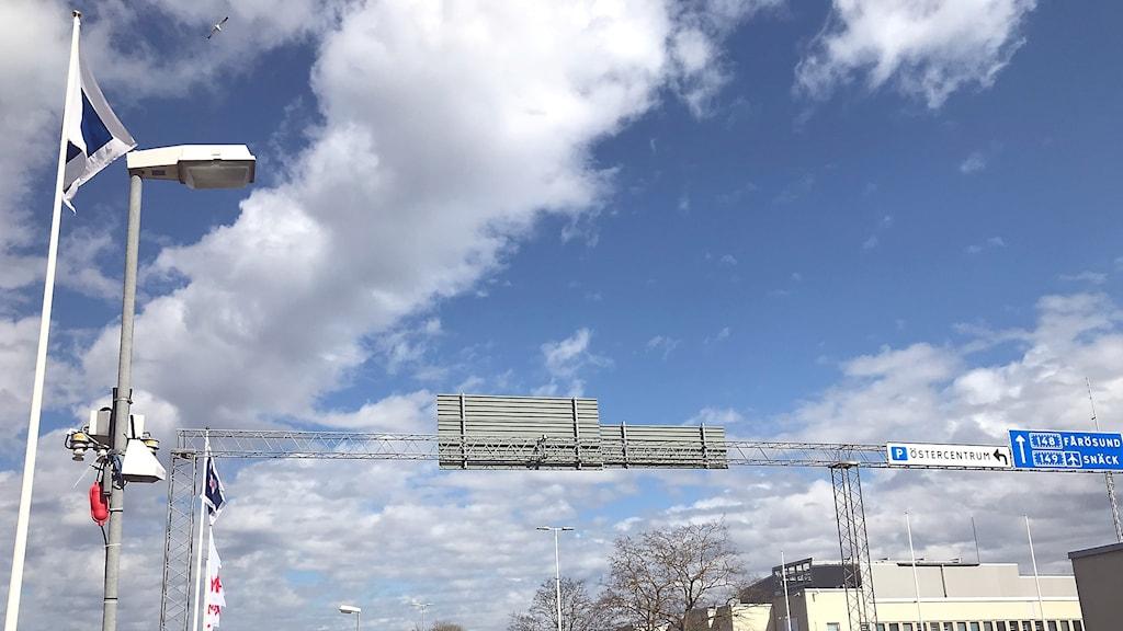 Mätstationen vid Norra Hansegatan i Visby där luftkvalitén kontrolleras.