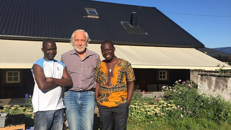 Gryson Kumwenda från Malawi, Staffan Bergström och Mohamed Dauda från Sierra Leone tillsammans i Rute.