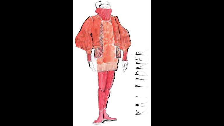 Klara Landin Larssons skisser på kostymer hon skaopar som examensprojekt på konsthägskolan i Edinburgh