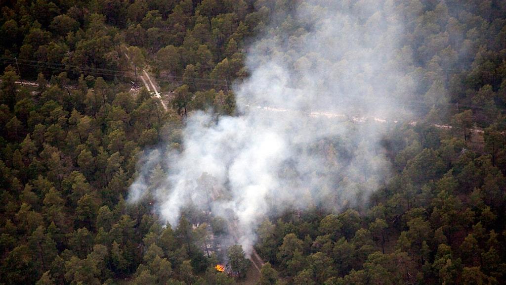 Skogsbrand vid Stora Vikers Kappelshamn.