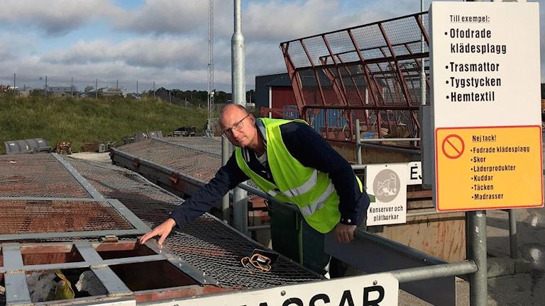 Claes Friberg på Återvinningscentralen i Visby