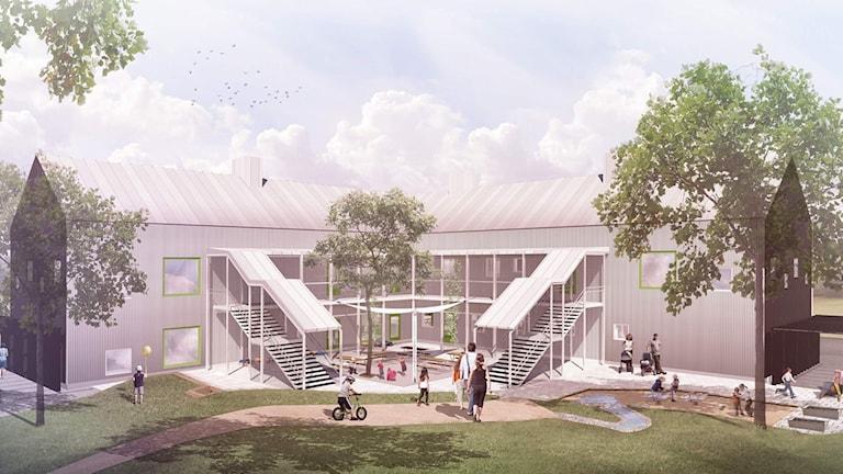 Illustration av nya förskolan Törnekvior i Visby. Foto: AQ-arkitekter