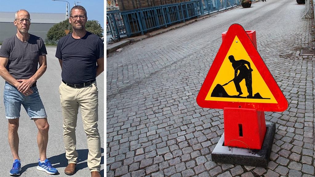 Bilden är tvådelad: till vänster två medelålders män; till höger en varningsskylt för underhållsarbete.