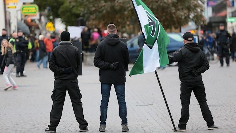Nordiska Motståndsrörelsen demonstrerar i Visby.