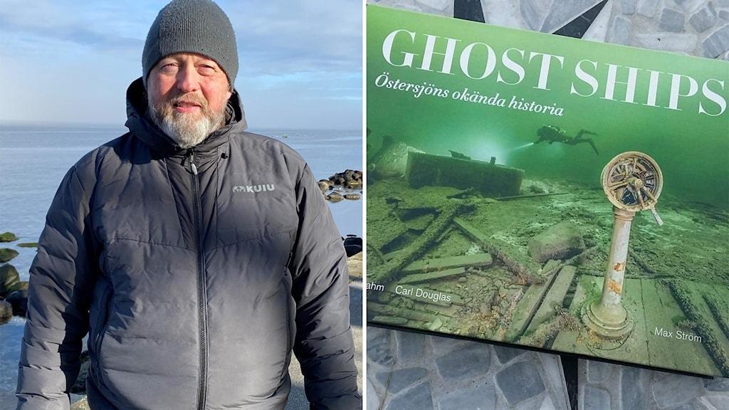 """Till vänster: En man med skägg står utomhus i en svart jacka och en svart mössa. Till höger: En grön bok med texten """"Ghost ships"""" ligger på ett grått golv."""