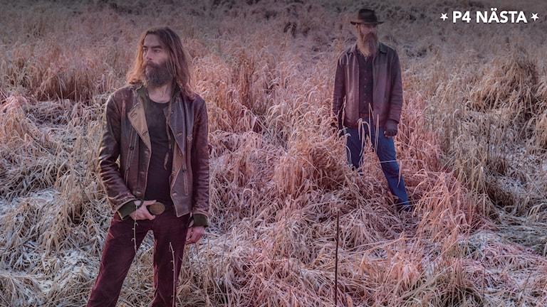 Två män med skägg står på ett fält.