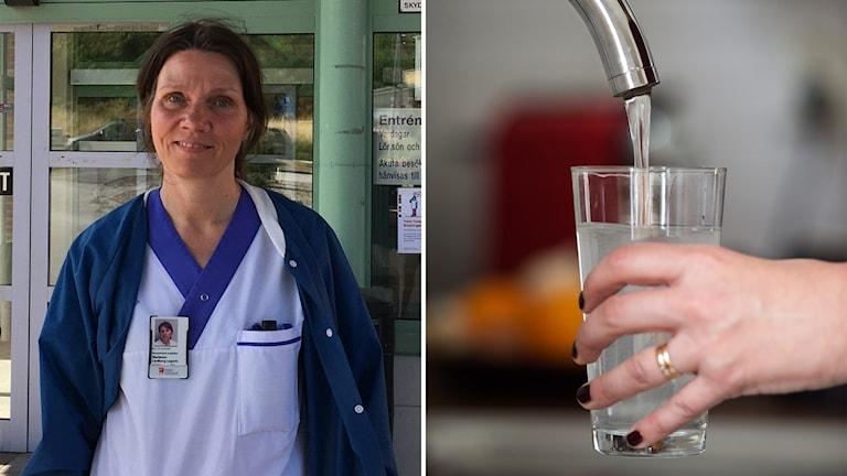 En tvådelad bild som visar en kvinna i vita kläder och ett glas som fylls med vatten.