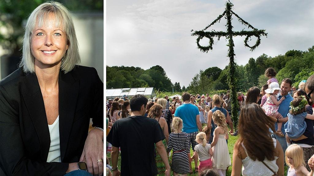 Till vänster: En profilbild av Charlotta Mellander. Till höger: Ett midsommarfirande – personer dansar runt en midsommarstång.