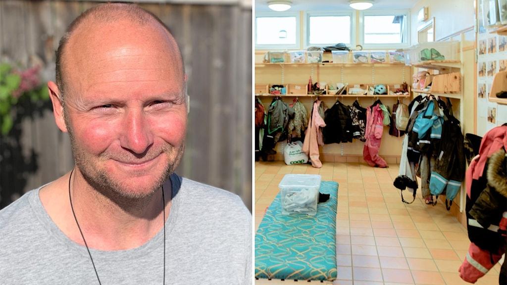 Bilden är tvådelad: Till vänster Johan Lindberg, rektor för Gråboskolan i Visby; till höger ett kapprum på en förskola.