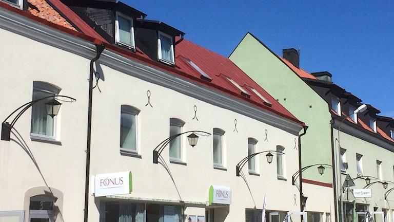 Lyktor på fastighet i Visby