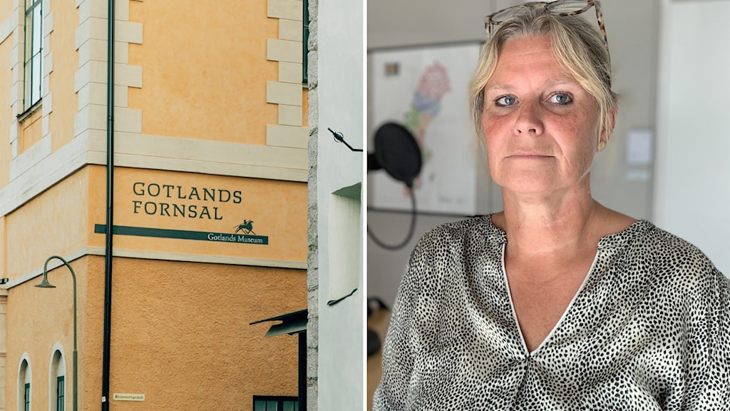 """Till vänster: En gul vägg och det står """"Gotlands fornsal"""" i svart text. Till höger: En kvinna med blont hår står i en radiostudio."""