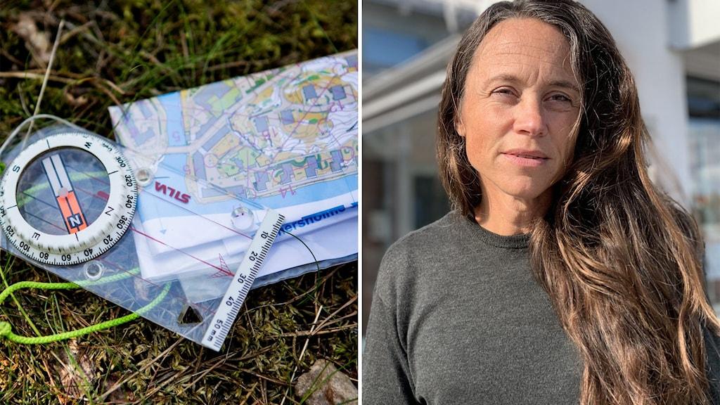 Till vänster: En kompass och en karta ligger i gräset. Till höger: En kvinna med långt, brunt hår står utomhus.