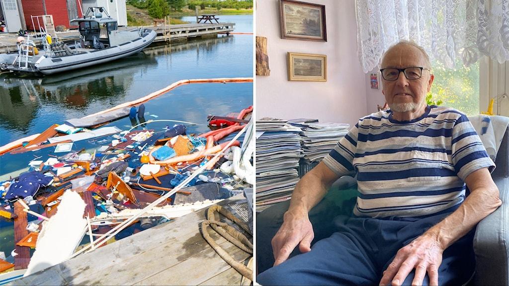 Till vänster resterna av totalförstörd båt i vattnet, till höger en äldre man i en fåtölj.
