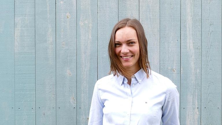 Thea Ekholt från Norge är ny innebandymålvakt i Endre IF. Målvakt innebandy Endre If. Foto: Astrid Skarin/Sveriges Radio
