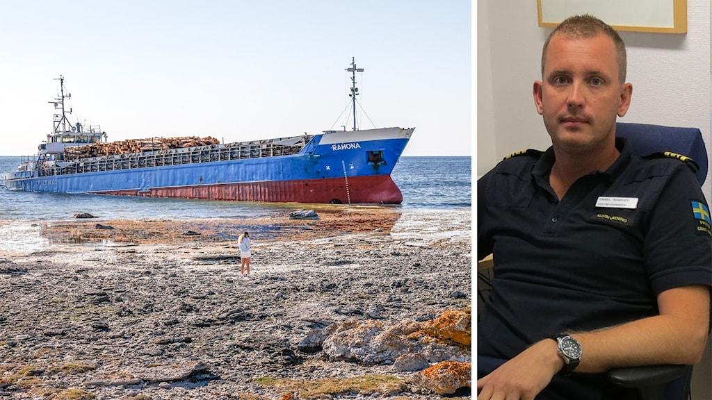 Bilden är tvådelad: Till vänster ett grundstött fartyg; till höger en man i kustbevakningsuniform.