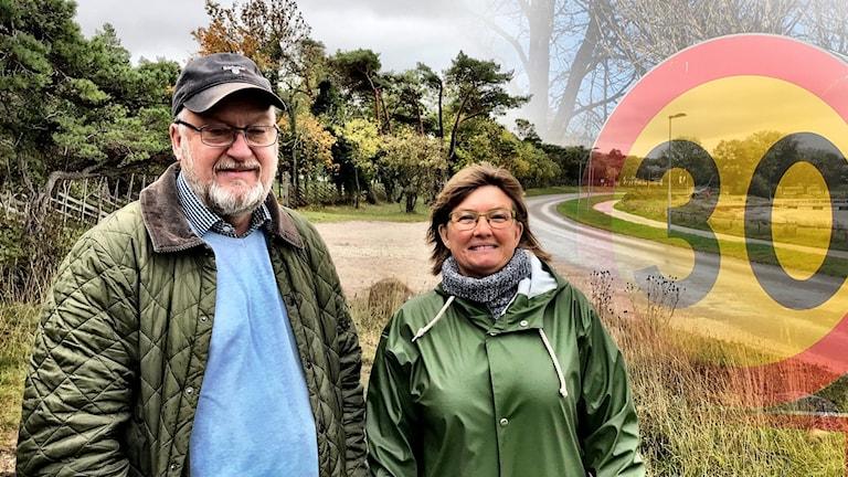 Trafikreglering på ön. Camilla Norbeck, brevbärare. Lennart Klintbom, trafikplanerare på Region Gotland.