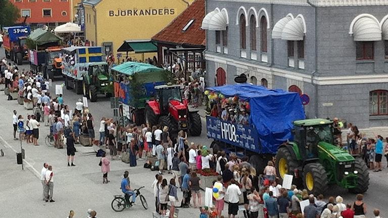 Studentvagnar i Visby hamn.
