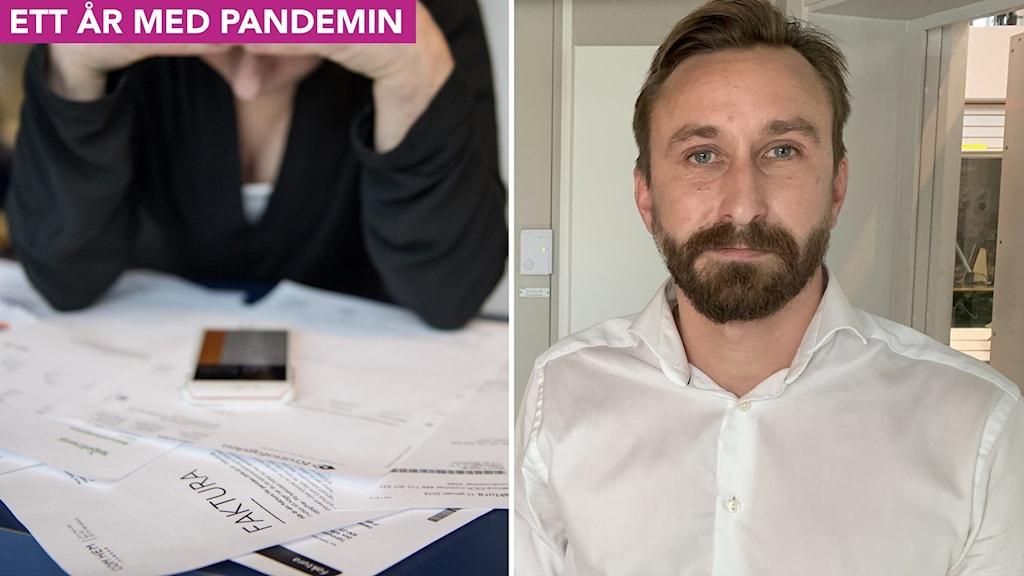 Till vänster: En person tittar på obetalda räkningar med händerna för pannan. Till höger: En man står i en radiostudio.
