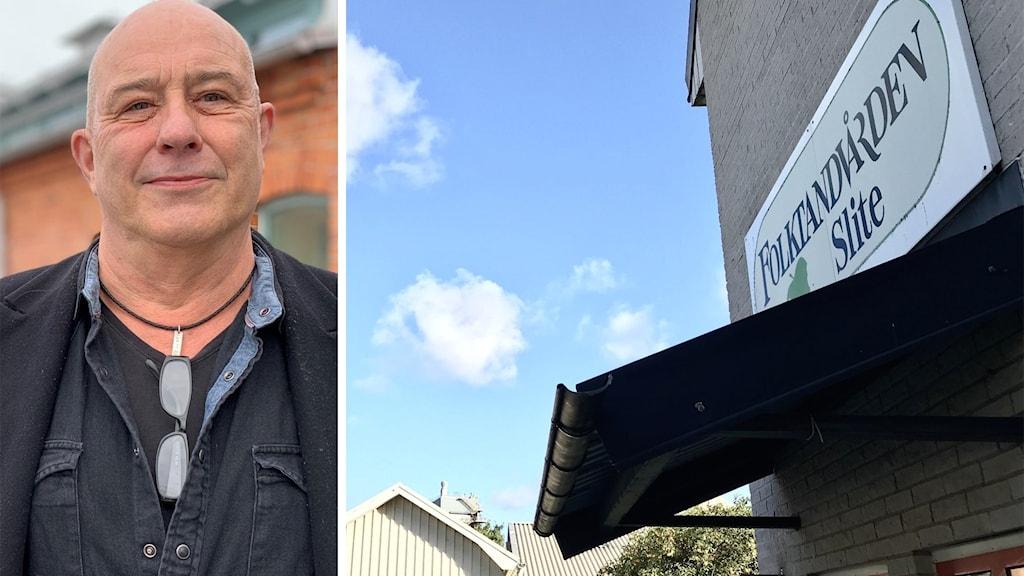 Till vänster: Mats-Ola Rödén står utomhus och kollar in i kameran. Till höger: Slite vårdcentral.