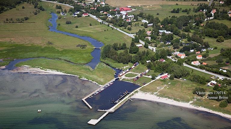 Flygfoto över Västergarn