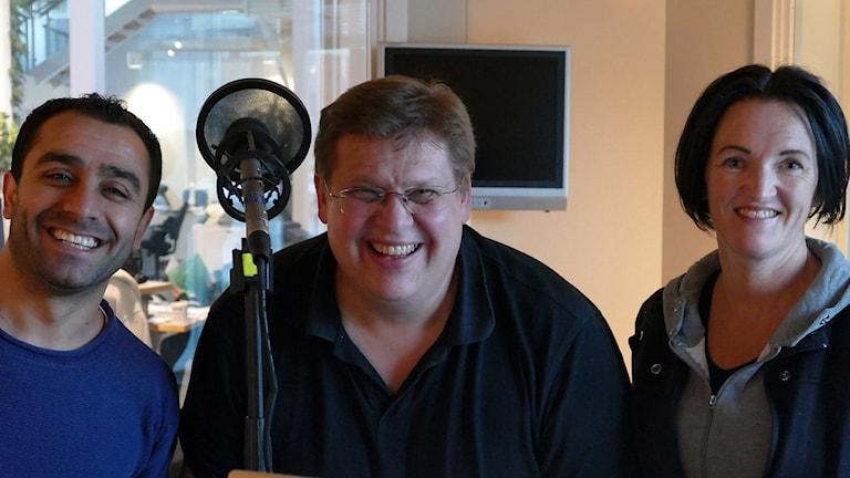 Företagaren Aydin Akyuz, tubaisten Erik Skagerfält och hojåkaren Martina Lilja i fredagspanelen.