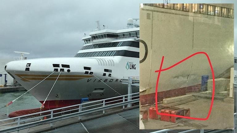 MS Visborg skadad efter anlöp i Visby hamn