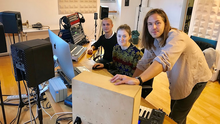 Tonsättarelever Johan Stohne, Saga Fagerström, Joel Janson Johansen