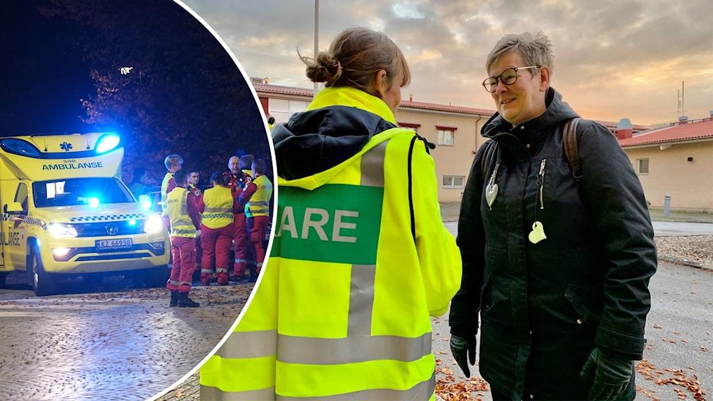 Till vänster en infälld rund bild på ambulanspersonal vid dådet i Kongsberg; till höger ryggen av en kvinna i en reflexväst med texten LÄKARE pratar med Gotlands beredskapsläkare Eva Borin.