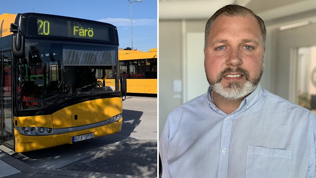 Till vänster: Bussar. Till höger: Henric Hedenqvist, platschef för Bergkvarabuss.