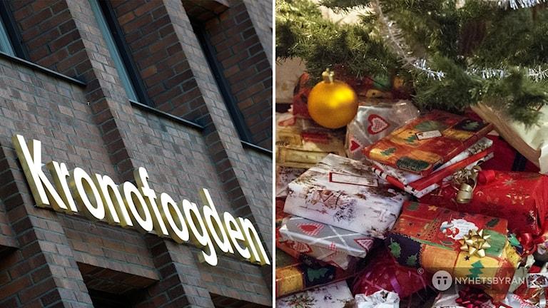 Kronofogdens skylt och en bild på julklappar under granen.