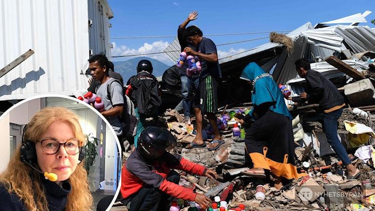 Människor tar sig fram genom ödeläggelsen efter jordbävningen och den efterföljande tsunamin. Jessica Magnusson inklippt.