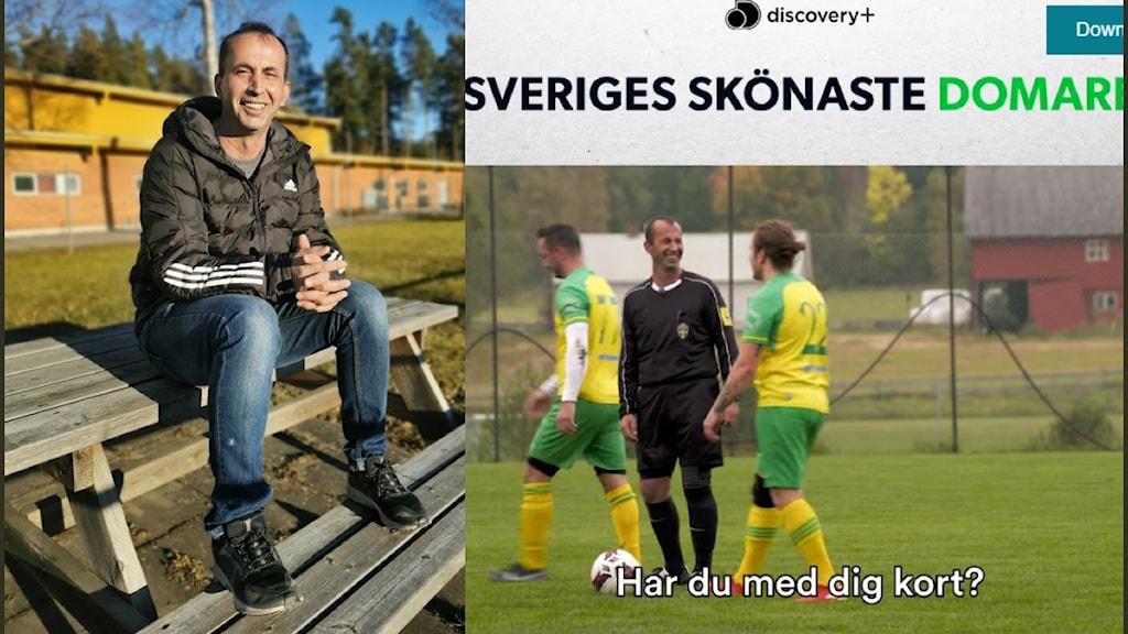 """En tvådelad bild, med en leende Bujar Durguti till vänster, sittande på en bänk vid en fotbollsplan och en skärmdump från ett facebookklipp med en bild på Bujar Durguti och en spelare, med överrubriken: """"Sveriges skönaste domare"""" och """"Discovery +"""""""