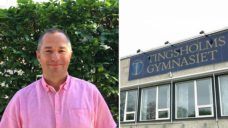 Mikael Levander (NU) ihopklippt med Tingsholms fasad.
