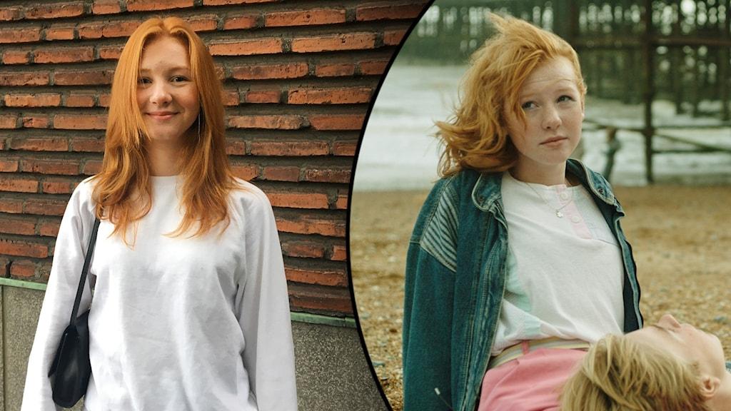 Två bilder på samma tjej med rött hår och vit topp.