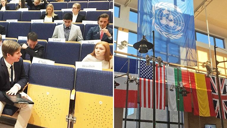 Eleverna sitter i aulan, till höger FN:s och några länders flaggor hänger i taket.