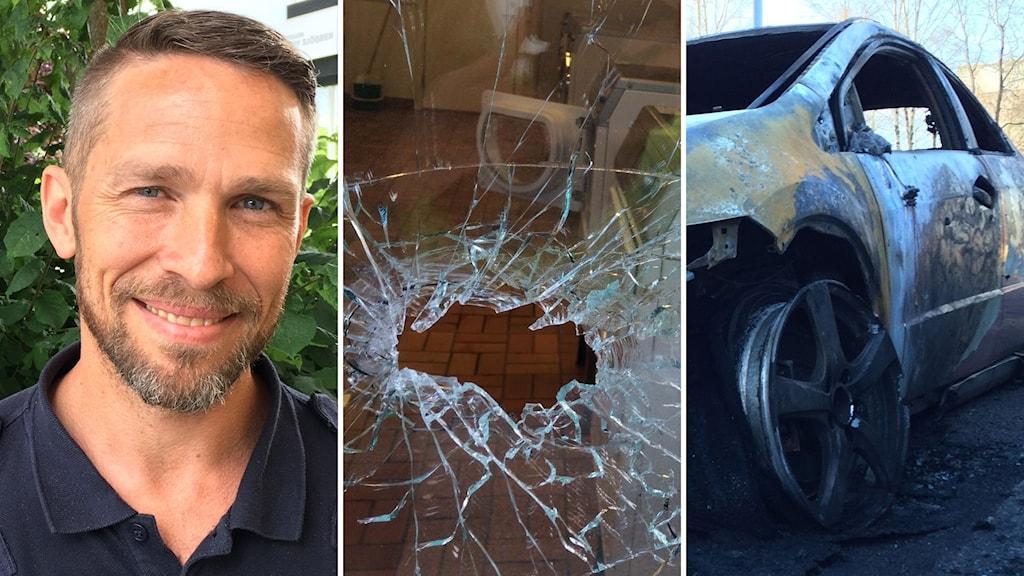 polischef Tomas Jansson och två bilder på skotthål i glas och en utbränd bil på Hässleholmen.
