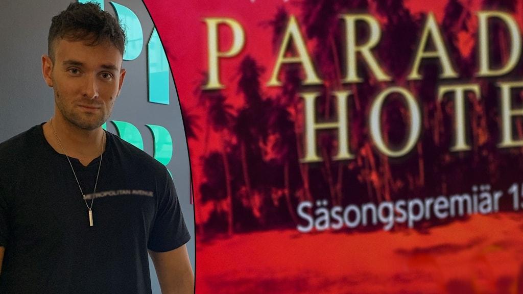 Alexander Ekdahl och affisch för Paradise hotel.